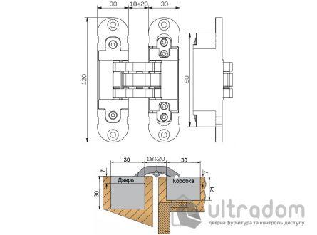 Скрытая дверная петля OTLAV Invisacta 3D 30х120 мм матовый хром