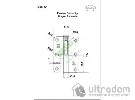 Дверная петля съёмная из нержавеющей стали AMIG m.427 90x65x2,5 мм
