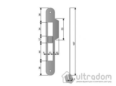 Ответка для механизма AGB CENTRO под ключ, под четверть, цвет - мат.хром