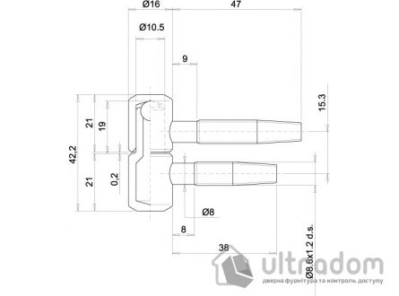 Петля ввертная OTLAV 2-ух штыревая, диаметр 16 мм