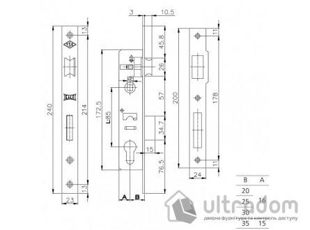 Корпус замка с защелкой SIBA 10053-30, для алюминиевой двери