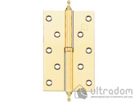 Дверные петли стальные SIBA 125 мм, цвет - полированная латунь