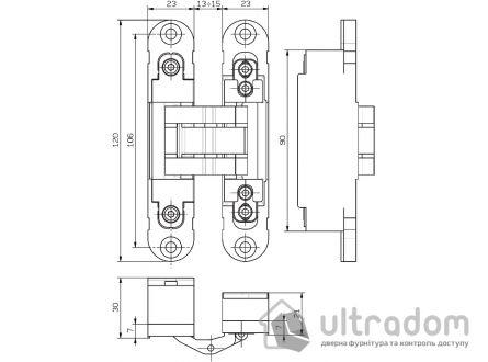 Скрытая дверная 3D петля OTLAV Invisacta IN235 23х120 мм НЕЙЛОН матовый никель