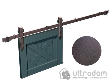 """Комплект фурнитуры раздвижной системы Mantion THOR в стиле LOFT, коричневая бронза """"под ржавчину"""""""