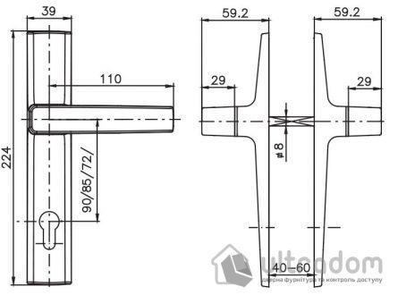 Дверная ручка ROSTEX OFFICE mov-mov PZ ручка-ручка 72 85 90 хром сатин