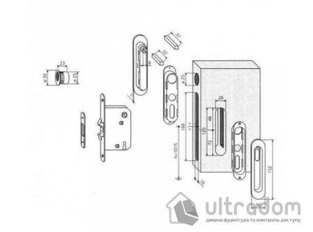 Замок с ручками для раздвижных дверей AGB Scivola-TT WC,  матовая латунь