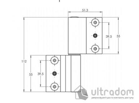 Дверная петля для алюминиевой двери IKAR AA-190