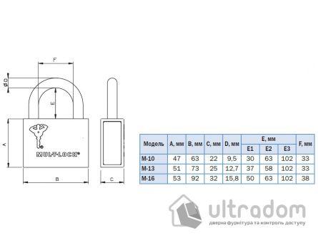 Навесной  замок Mul-T-Lock M10-13-16 /C1 H-37мм