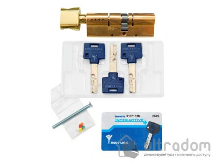 Цилиндр дверной Mul-T-Lock Interactive+ ключ-вороток., 82 мм