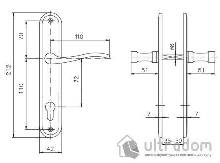 Дверная ручка ROSTEX ELEGANT  PZ ручка-ручка 72 мм хром сатин