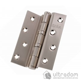 """Петля дверная SIBA 100 мм угловая стальная, матовый никель (2BB 4""""х3""""х3мм FHP SN  Bended) image"""