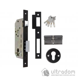 Дверной замок AMIG mod. 340 с цилиндром, цвет - чёрный матовый image