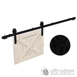 Комплект фурнитуры раздвижной системы Mantion THOR в стиле LOFT, матовая чёрная image