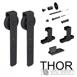 Комплект фурнитуры раздвижной системы Mantion THOR в стиле LOFT, матовая чёрная (219-330) image