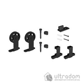 Комплект фурнитуры раздвижной системы Mantion MODI  в стиле LOFT, матовая чёрная (219-331) image