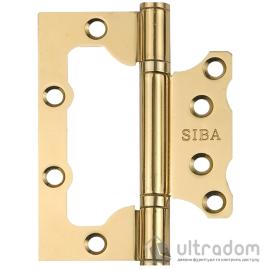 "Петля дверная SIBA 100 мм универсальная накладная, полированная латунь (2BB 4""х3""х2,5mm FHP PB) image"