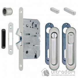 Ручки - ракушки для раздвижных дверей AGB, комплект с механизмом WC , цвет - матовый хром image
