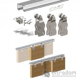 Комплект подвесной раздвижной системы Valcomp HORUS HR24 для шкафа-купе до 2400 мм, 3 створки до 45 кг (212-016) image