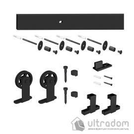 Комплект раздвижной системы Mantion MODI в стиле LOFT, матовый чёрный (219-241 SET) image