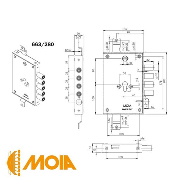 Корпус вкладного замка MOIA 663 280DFB (схема)