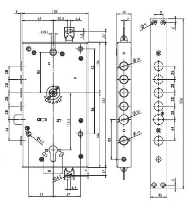 Замок основной, двухсистемный MUL-T-LOCK Omega + DIN OFMPB30328L